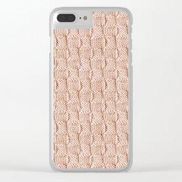 Ecru Knit Textured Pattern Clear iPhone Case