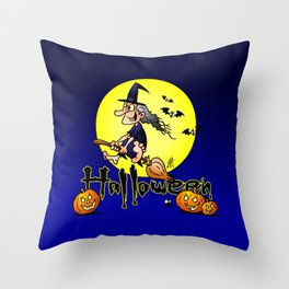 Halloween, witch on a broom, bats and pumpkins Throw Pillow