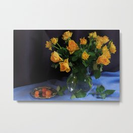 Still Life with Yellow Roses Bouquet Metal Print