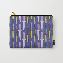 Double Knife Purple Pattern Carry-All Pouch