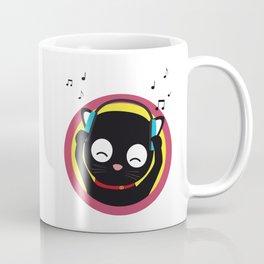 Cat with headphones hears music Coffee Mug