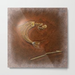 Mermaid Fossil by Coreyartus Metal Print