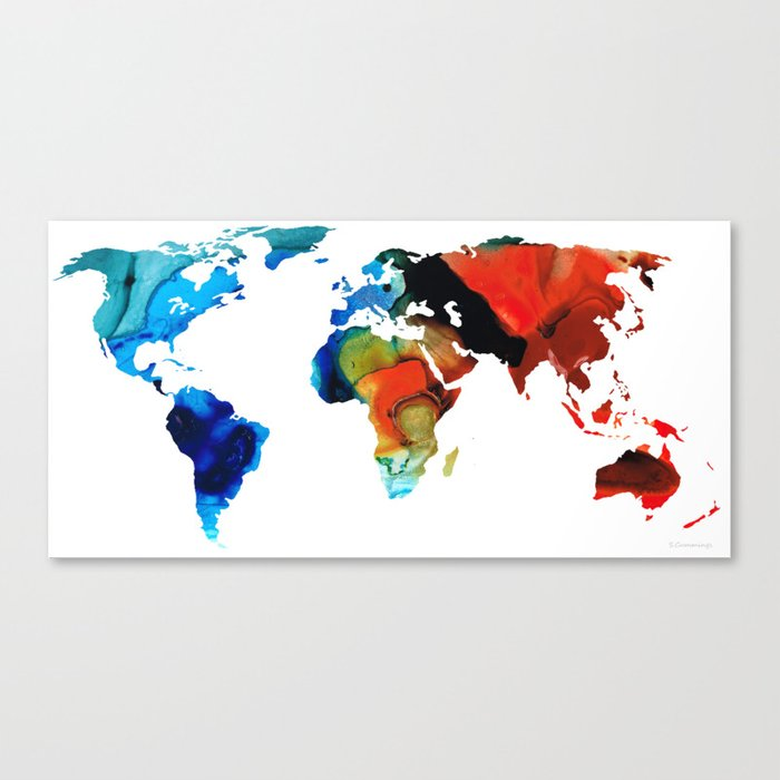 Map Of The World 3 Colorful Abstract Art Canvas Print By Sharoncummings