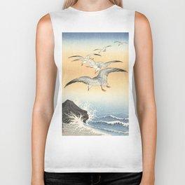 Japanese Seagull Woodblock Print by Ohara Koson Biker Tank