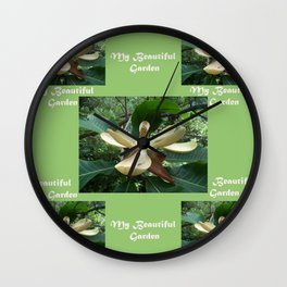 Garden _White Magnolia in May Wall Clock