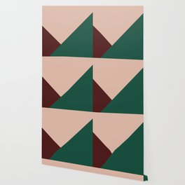 Burgundy and Green Geometric Wallpaper
