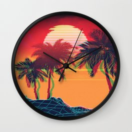 Vaporwave landscape with rocks and palms Wall Clock