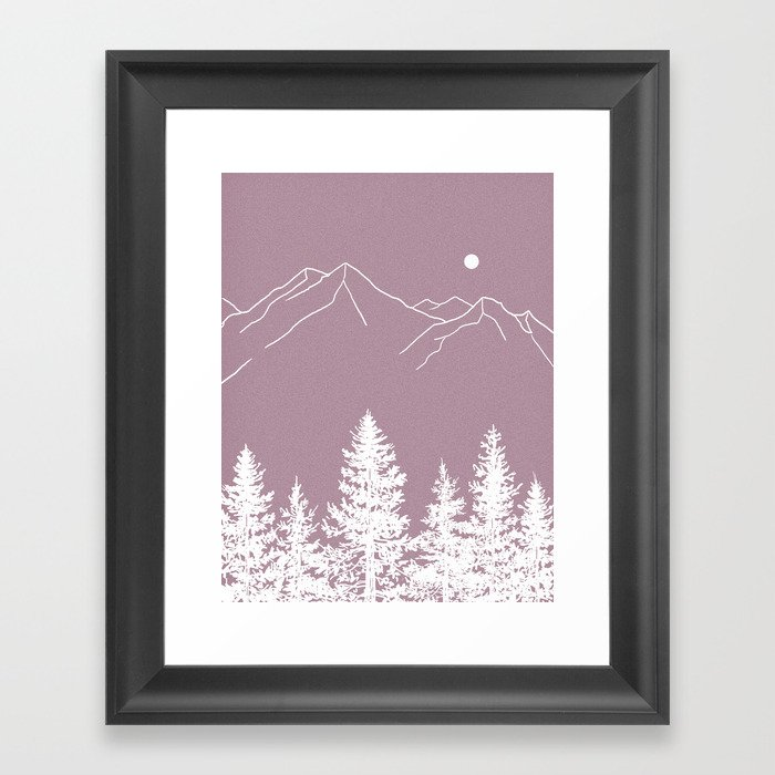 Forest At Dusk Wallpaper: Mountains And Forest At Dusk Framed Art Print By