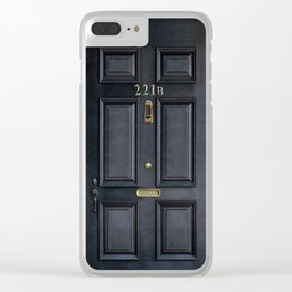 Haunted black door with 221b number Clear iPhone Case