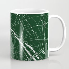 Paris France Minimal Street Map - Forest Green Coffee Mug