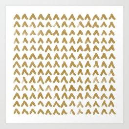 Minimalist Gold Brush Peaks Art Print