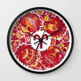 Aries in Petrykivka Style (without artist's signature/date) Wall Clock