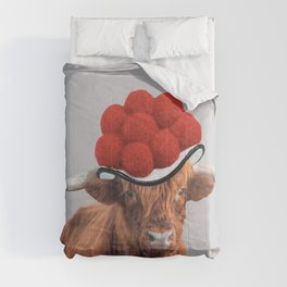 Highland Cow with German Black Forest hat Comforters