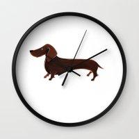 dachshund Wall Clocks featuring Dachshund by Cathy Brear