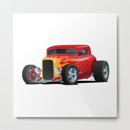 Classic Bold Red Custom Street Rod Car with Yellow amd Orange Hotrod Flames Metal Print