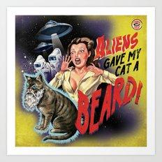 Aliens Gave My Cat A Beard (Yellow) Art Print