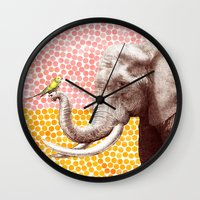 eric fan Wall Clocks featuring New Friends 2 by Eric Fan and Garima Dhawan by Eric Fan