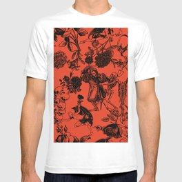 Demons N' Roses Toile in Halloween Orange + Black T-shirt