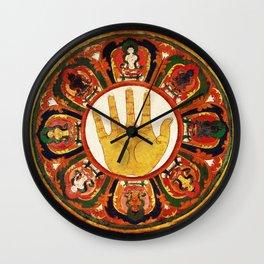 Buddhist Hindu Healing Hand Mandala Wall Clock