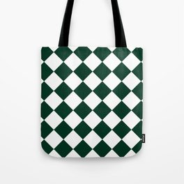 Large Diamonds - White and Deep Green Tote Bag