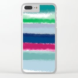 Bluish Blues 2 - Blues, Aqua, Greens, and Pinks, Stripes on White Clear iPhone Case