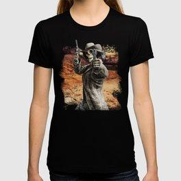 LETS DANCE Skeleton Western Gunslinger Cowboy Print T-shirt
