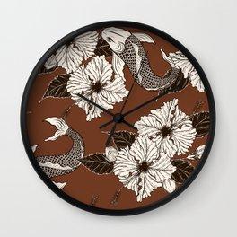Dark Brown Floral Koi Pattern Wall Clock
