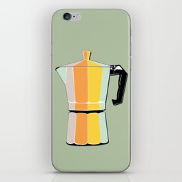 Retro Coffee Pot - Vintage Spring Colors on Silver Bubbles Background iPhone Skin