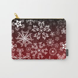 Symbols in Snowflakes on Holly Berry Carry-All Pouch