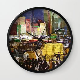 Bustling Big City New York landscape painting by George Wesley Bellows Wall Clock
