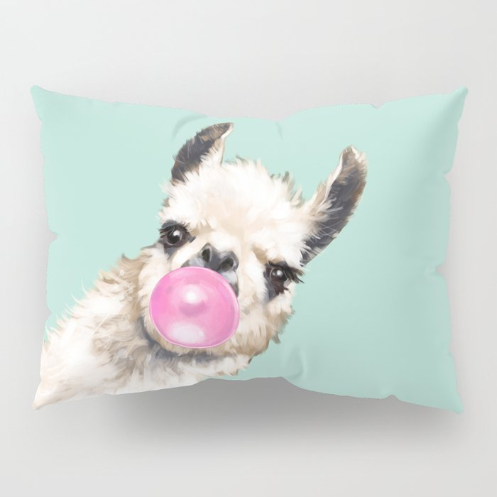Bubble Gum Sneaky Llama in Green Pillow Sham