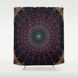 Mandala in dark red and brown tones Shower Curtain