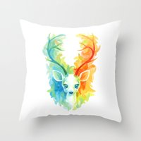 feather Throw Pillows featuring Feather Fawn by Freeminds