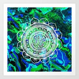 Lucid Liquid Acacia Aquamarine Art Print
