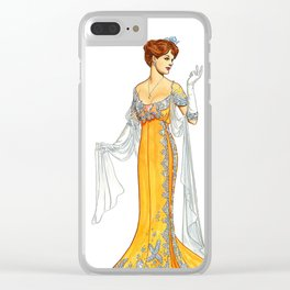 Woman Model in Elegant Yellow Dress 1930s Fashion Clear iPhone Case