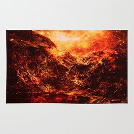 galaxy Mountains Fiery Orange & Red Rug