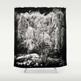 Willow Tree at River Bank Film Noir Style Shower Curtain