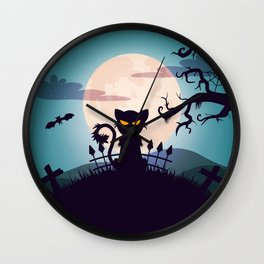 Cat in The Moon light Wall Clock