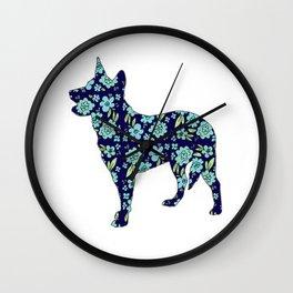 Blue Heeler Floral Wall Clock