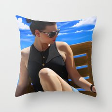 Blue Sun Throw Pillow