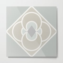 Dove Grey Quatrefoil Diamond Metal Print