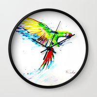 military Wall Clocks featuring Military Macaw by ARealpe