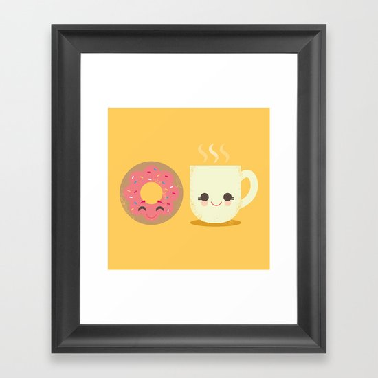 Coffee and Donut Buds Framed Art Print
