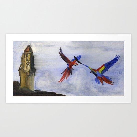 Parrots of Dolores Park Art Print