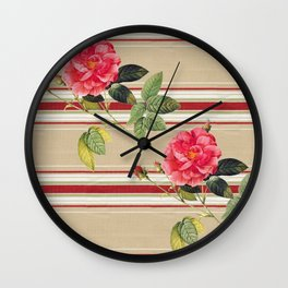 Shabby Chic Cottage Roses Wall Clock