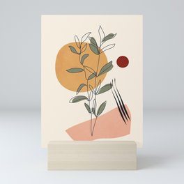 Minimal Line Young Leaves Mini Art Print