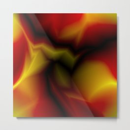 Mystical cosmic sparkling lightning of red zigzags and yellow spots. Metal Print