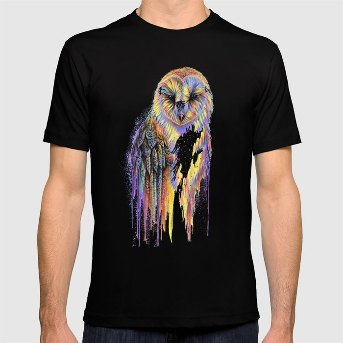 Colorful Owl Dark Background T-shirt