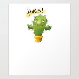 Cute Cactus Hugs Plant Lover Art Print