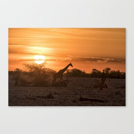 Silhouette of a Giraffe at Sunset at Okaukuejo In Etosha National Park Canvas Print